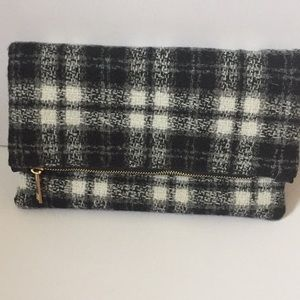 Fall plaid fold over clutch
